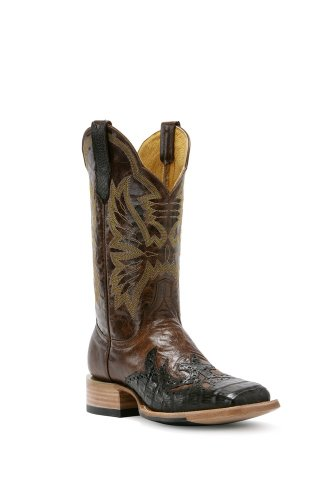 Cinch Men's Caiman Wingtip Cowboy Boot Square Toe Chocolate US