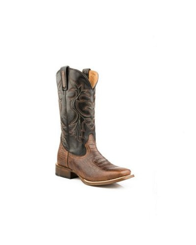 Roper Men's Caiman Belly Print Cowboy Boot Square Toe Tobacco US