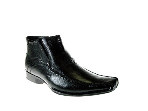 BB&W Men's M1789 Ankle High Cross Design Dress Boots, Black, 10