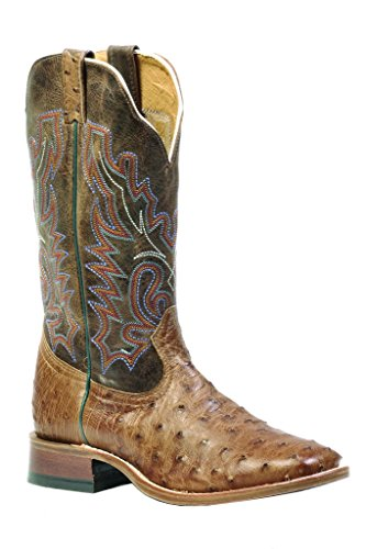 Boulet Men's Full Quill Ostrich Cowboy Boot Wide Square Toe Wood US