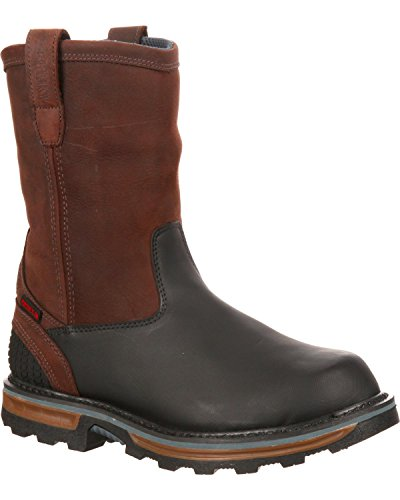 Rocky Men's Elements Block Waterproof Pull-On Boot Safety Toe Dark Brn US
