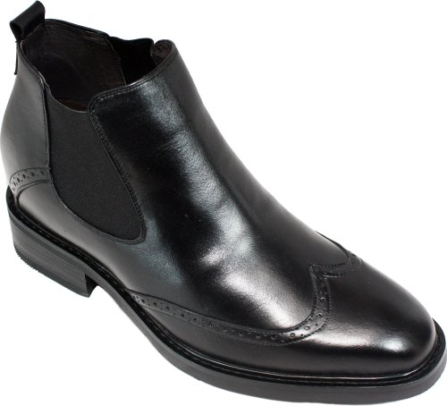 CALDEN – K28802 – 3 Inches Taller – Size 11 D US – Height Increasing Elevator Shoes (Black Slip On Wing-tip Formal Dress Ankle Boots with Elastics)