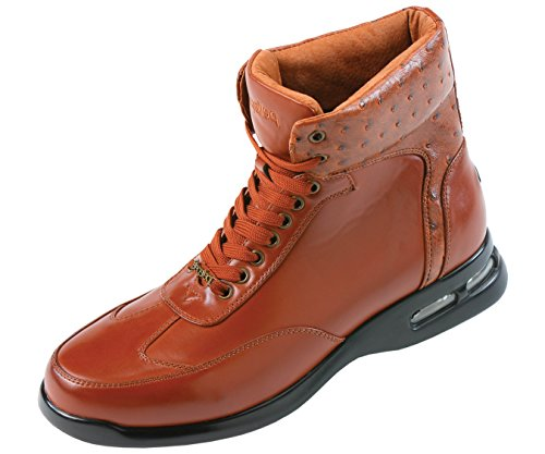 Pelle Pelle Mens High Top Air Bottom Casual Sneaker Boot in Cognac Smooth with Ostrich Quill Printed Collar : Style PP1501 Cognac-215 10 D (M) US