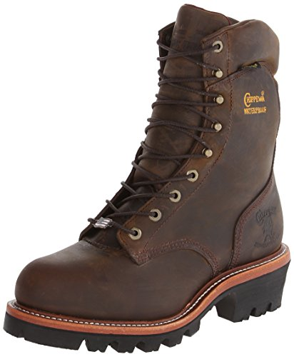 Chippewa Men's 9 Inch Bay Apache WP Steel Toe Super Logger Boot,Brown,9.5 3E US