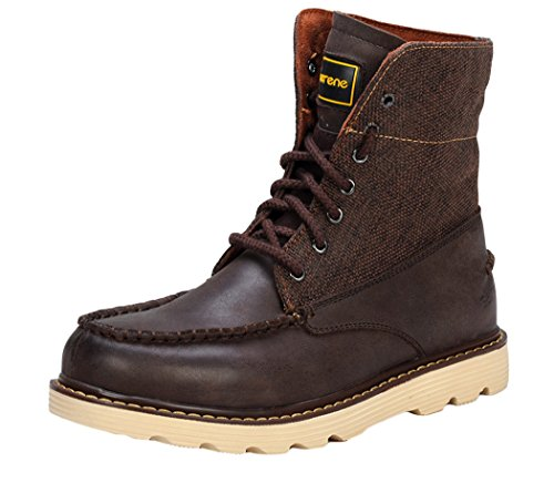 Serene Mens Suede Leather Fragments Combat Boot (8 D(M)US, Coffee)