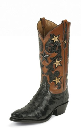 1004 Tony Lama Men's 13IN Full Quill Ostrich Boots – Black – 10.0D