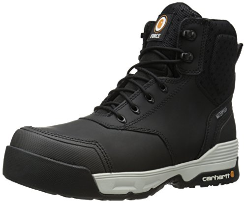 Carhartt Men's 6 Inch Force CMP Toe Work Boot, Black Coated Leather, 11 W US