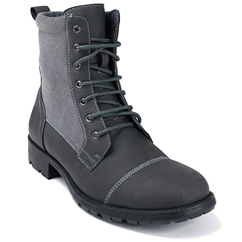 Alpine Swiss Patton Men's Field Combat Boots Canvas Trim Lug Sole