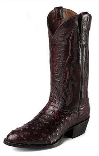 Nocona Men's 13″ Full Quill Ostrich Black Cherry Brush Off Western Boots (8EE)