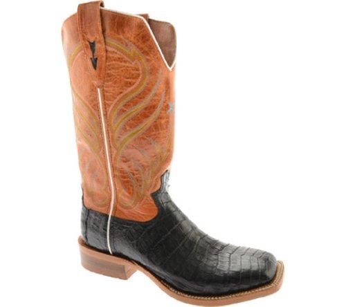 Twisted X Boots Men's MRAL006,Black Caiman Gator/Glazed Orange Leather,US 13 D