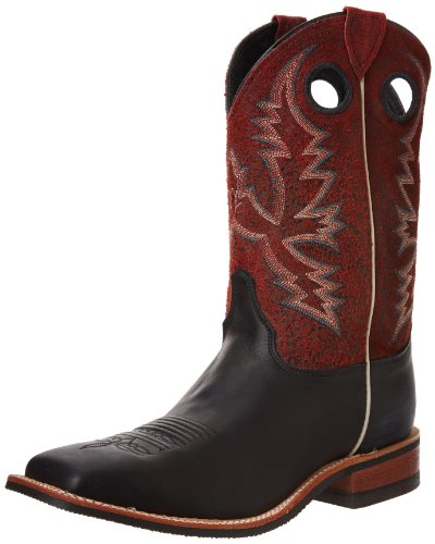Justin Boots Men's U.S.A. Bent Rail Collection 11″ Boot Wide Square Double Stitch Toe Performance Rubber Outsole,Black Chester/Red Crackle,12 EE US
