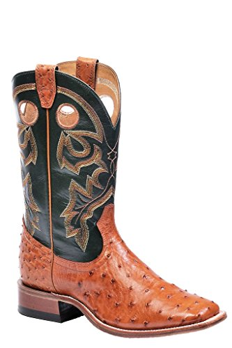 Boulet Men's Full Quill Ostrich Cowboy Boot Wide Square Toe Brandy US