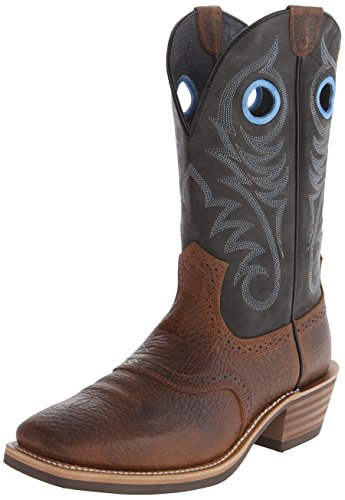 Ariat Men's Heritage Roughstock Wide Square Toe Western Boot, Earth/Vintage Black, 11 4A US