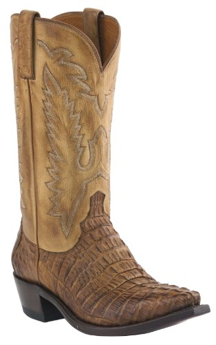 Lucchese Men's Handcrafted 1883 Hornback Caiman Tail Cowboy Boot Snip Toe Tan US