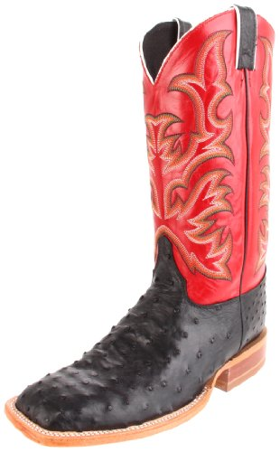 Justin Boots Men's U.S.A. Aqha Lifestyle Collection 13″ Remuda Series Boot Wide Square Double Stitch Toe,Black Full Quill Ostrich/Red Soft Ice,11.5 EE US