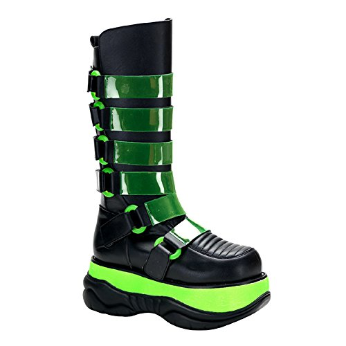 3 Inch Platform MENS SIZING Neon UV Black Light Reative Dance Club Boots Size: 9