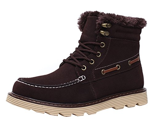MILANAO Men Winter Warm Cotton Frosted Short Tube Snow Boots(8 D(M)US,chocolate)