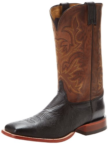 Justin Boots Men's U.S.A. Aqha Lifestyle Collection 13″ Remuda Series Boot Wide Square Double Stitch Toe,Black Smooth Ostrich/Antique Vintage Goat,10 D US