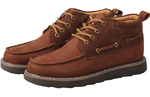 Serene Mens Comfortable Leather Lace-up Fashion Chukka Shoes (8 D(M)US, Brown)