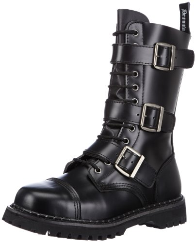 Pleaser Men's Riot-12 Buckle Boot,Black Leather,14 M US