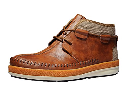 Serene Mens Comfortable Leather Lace-up Fashion Chukka Boot (10 D(M)US, Brown)