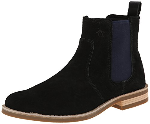 Original Penguin Men's Kris Chelsea Boot, Black/Dress Blues, 11 M US
