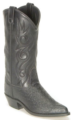 Old West Men's Fancy Stitched Ostrich Print Cowboy Boot Pointed Toe Black US