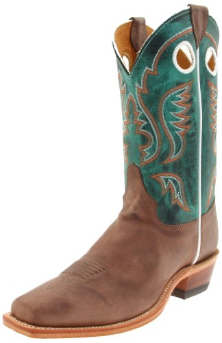 "Justin Boots Men's U.S.A. Bent Rail Collection 11″ Boot Wide Square Single Stitch Toe Leather Outsole,Chocolate ""America"" Burnished Cow/Turquoise Ponteggio,8.5 D US"