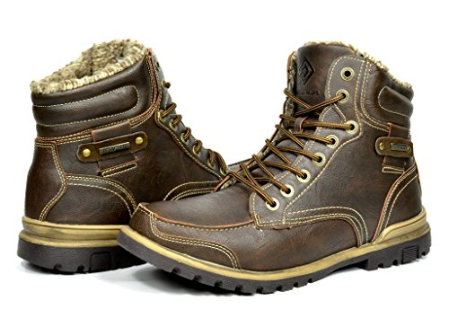 DREAM PAIRS TRAILER Men's Winter High Top Insulated Fur Lining Laced Up Casual Boots Shoes