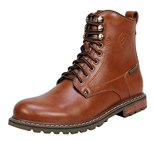 Serene Mens Comfortable Leather Lace-up Padded Fashion Ankle Tactiacl Boots (10 D(M)US, Brown)
