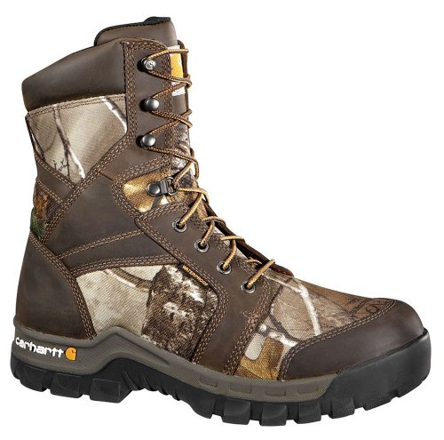 Carhartt Men's CMF8379 8 Inch Composite Toe Boot,Brown Oil Tanned Leather/Realtree Extra Camo Nylon,11 W US