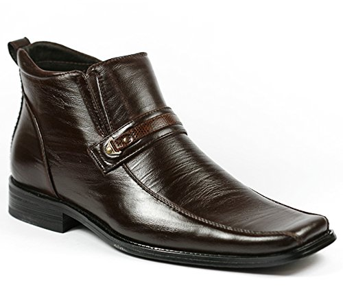 Delli Aldo M-689 Dark Brown Mens Square Toe Dress Ankle Boots Shoes w/ Leather Lining (10.5)