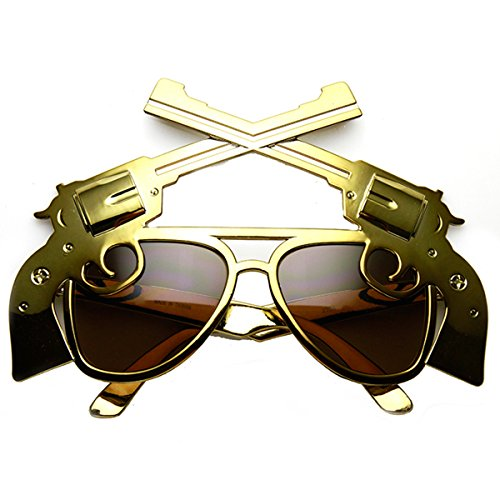 zeroUV – Gun Pistol Magnum Wild West Cowboy Costume Aviator Sunglasses (Brass Brown)