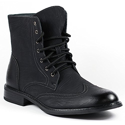Delli Aldo M-828 Black # 162 Mens Lace Up Perforated Dress Military Combat Work Desert Ankle Boot (10)
