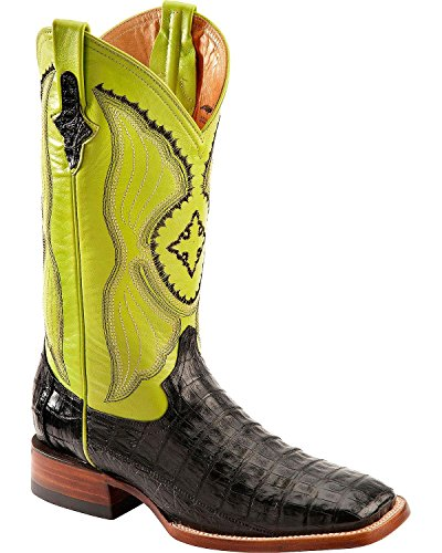 Ferrini Western Boots Mens Belly Caiman 11.5 D Black Lime 12493-04