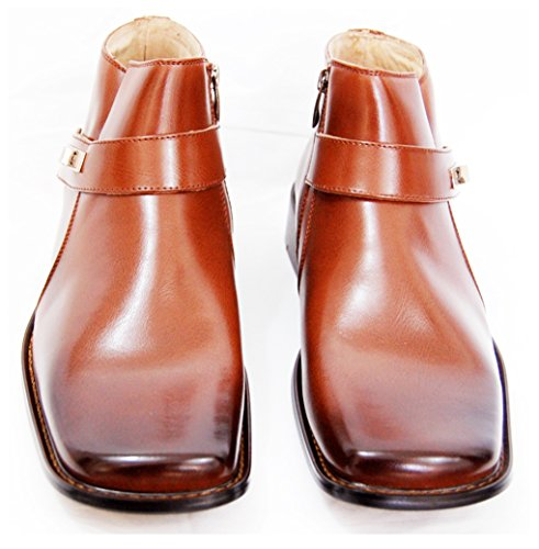 Majestic Men's Boots . Fashionable Brown Boots with Zipper Closure and Strap