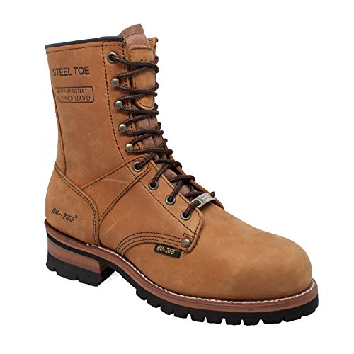AdTec Men's 1740 Logger Boots 9″ Steel Toe,Brown,9.5 M US