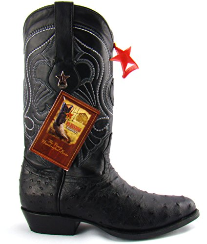 Los Altos Black Genuine Ostrich R-Toe Mens Western Cowboy Boots 9 D New $499