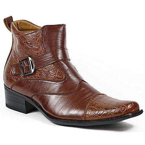 Ferro Aldo M-606001A Brown Mens Buckle Strap Dress Ankle Boots Shoes (9)