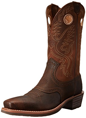 Ariat Men's Heritage Roughstock Square Toe Western Boot,  Brown Oiled Rowdy,  10 D US