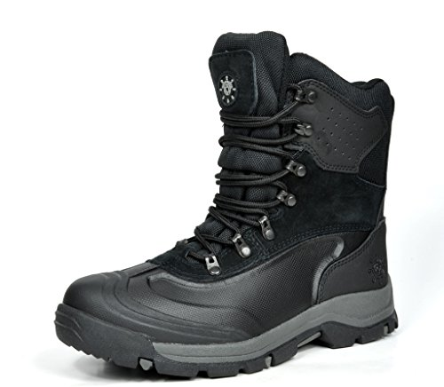 KINGSHOW Men's M1586 Water Proof Black Leather Rubber Sole Winter Snow Boots 12 M US