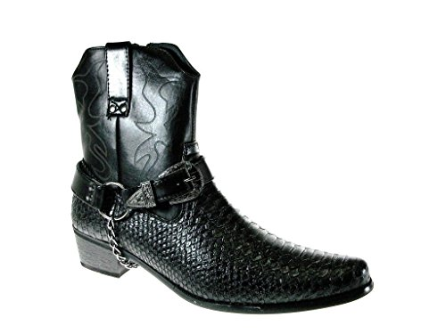 Alfa Men's M1734 Faux Snake Skin Western Cowboy Boots w/ Belted Chain
