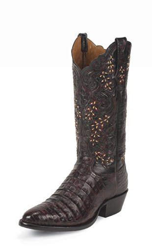 1002 Tony Lama Men's Caiman Western Boots – Black Cherry – 8.5EE