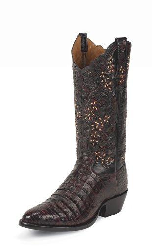 1002 Tony Lama Men's Caiman Western Boots – Black Cherry – 8.5EE