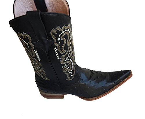Cowboy boot's Genuine Leather Ostrich embossed Cowboy Handmade Luxury Boots_Black_9.5