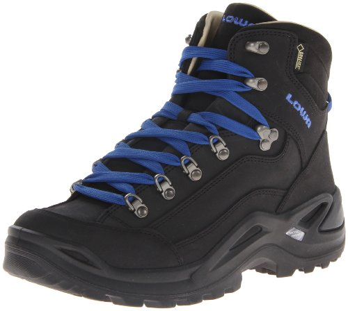 Lowa Men's Renegade Pro Goretex Mid Hiking Boot,Black/Cobalt,10 M US