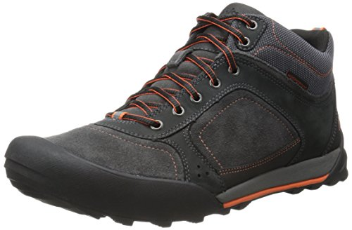 Clarks Men's Outlay High Boot,Black Leather/Grey Suede,10.5 M US