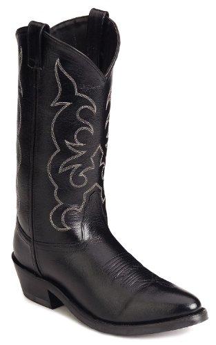 Old West Men's Leather Cowboy Work Boots – Black13 D(M) US