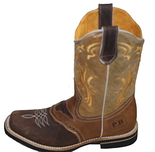 Men cowboy Genuine Cowhide Leather square toe rodeo western BOOTS_Brown_Tan_8.5