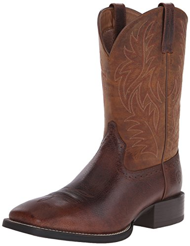 Ariat Men's Sport Western Wide Square Toe Western Boot,  Fiddle Brown/Powder Brown,  11 D US